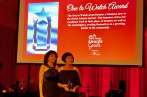 receiving the award for one to watch